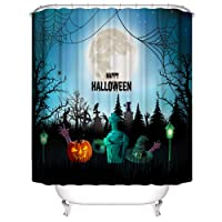 Hoomall Tapestry Halloween Horror Waterproof Bath Shower Curtains Waterproof Mould Resistance Bathroom Curtains Beach Decor Home Decor Bathroom Textile Leisure Shower Curtain 180 x 180cm