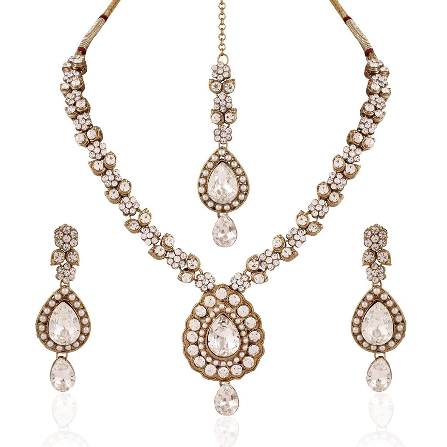I Jewels Traditional Gold Plated Elegantly Handcrafted Jewellery Set with Maang Tikka using Austrian Diamonds for Women IJ263W (White)