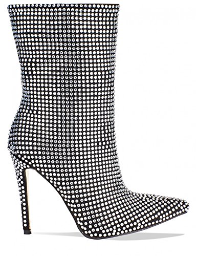 LAMODA Womens Diamante Stiletto Heeled Ankle Boots in Faux Suede Black