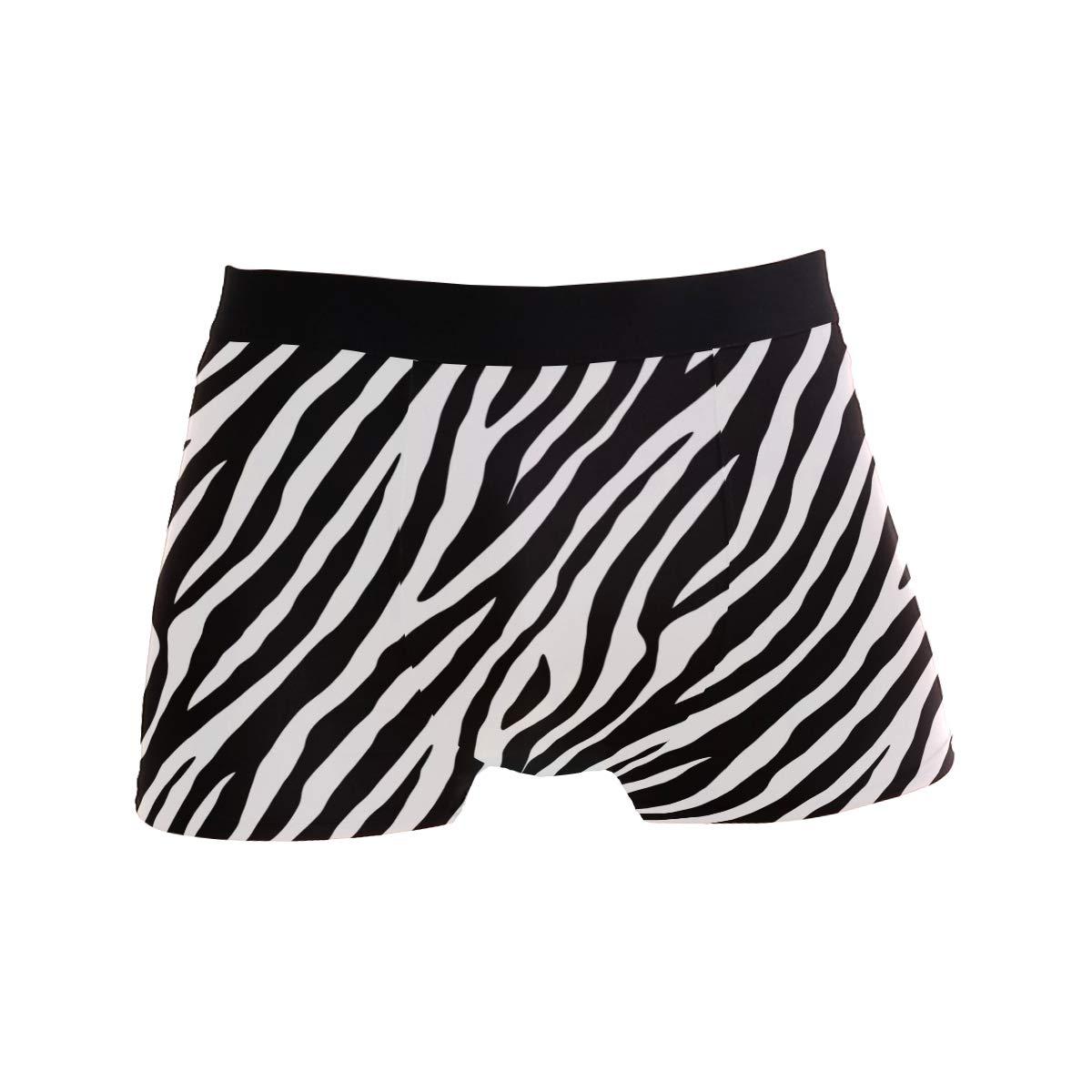 ZZKKO Black and White Zebra Print Mens Boxer Briefs Underwear Breathable Stretch Boxer Trunk with Pouch S-XL