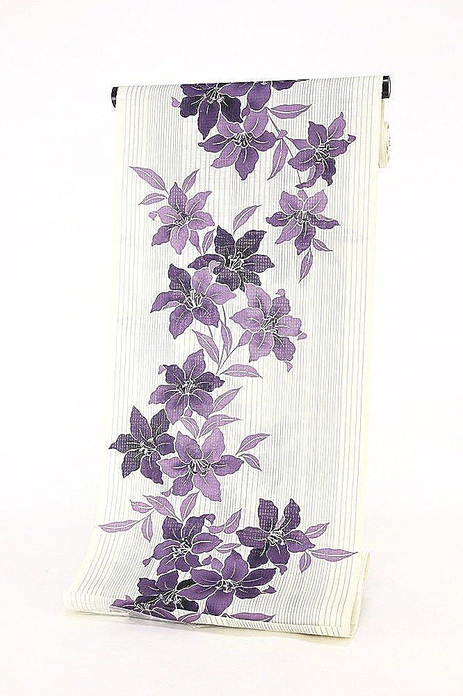 変わり織り浴衣 浴衣反物 教材用 手洗いOK レディース 未仕立品  5.クリーム×紫(ゆり) B01LP9UQDK
