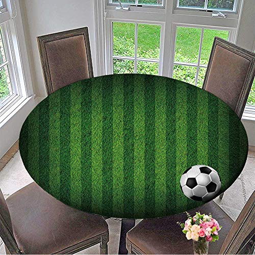 Mikihome Circular Table Cover Soccer Football on Grass Field for Wedding/Banquet 59