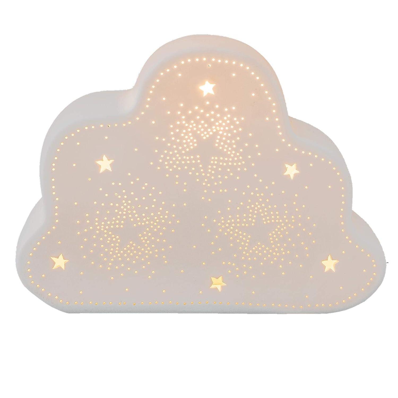 Clayre /& Eef 6LMP483 Tischlampe Lampe WOLKE wei/ß Bisquitporzellan 24 x 18 cm