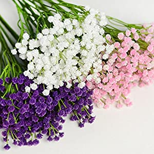 EORTA Artificial Flowers Baby Breath/Gypsophila Real Touch Bouquets for Wedding Party Home Garden Table Decoration, DIY, Gift, Pink, White, Purple 1
