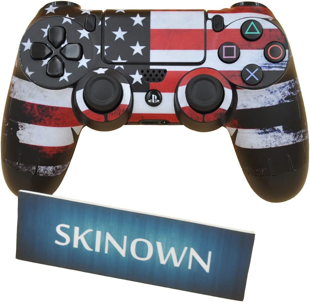 SKINOWN PS4 Controller Skin USA Flag Sticker Vinly Decal Cover for Sony Playstation 4 DualShock Wireless Controller