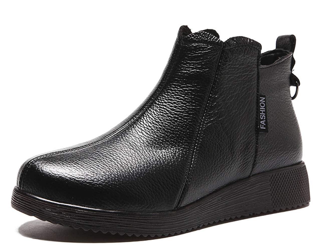 Damenknöchelschuhe Runde Leder Retro-Stiefelies in der oberen Ebene europäischen und amerikanischen Stil nationalen Herbst und Winter neuen flachen Schuhen