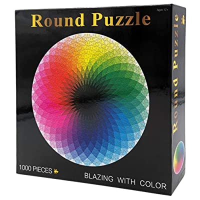 Jigsaw Puzzle for Adults Kids 1000 Pieces Large Round Gradient Color Rainbow Puzzle Educational Game: Toys & Games