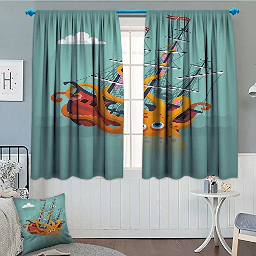 Kraken Thermal Room Darkening Window Curtains Giant Squid Sinking a Pirate Boat into Ocean Anchor Ship Humor Kids Design Decor Curtains by 72 x63 Orange Teal