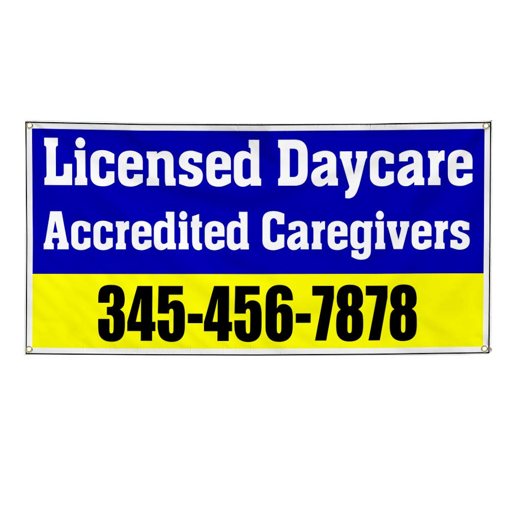 Custom Vinyl Banner Sign Multiple Sizes Accredited Caregivers Phone Number Blue Business Licensed Daycare Outdoor Blue 6 Grommets 36inx90in Set of 3