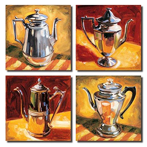 Tea Pot I Retro Silver Teapot Set; Four 12X12 Poster Prints. Red/Yellow/Silver