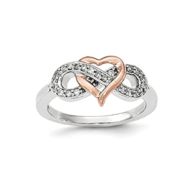 Amazon Solid 14k Gold Two Tone Diamond Heart Infinity Symbol
