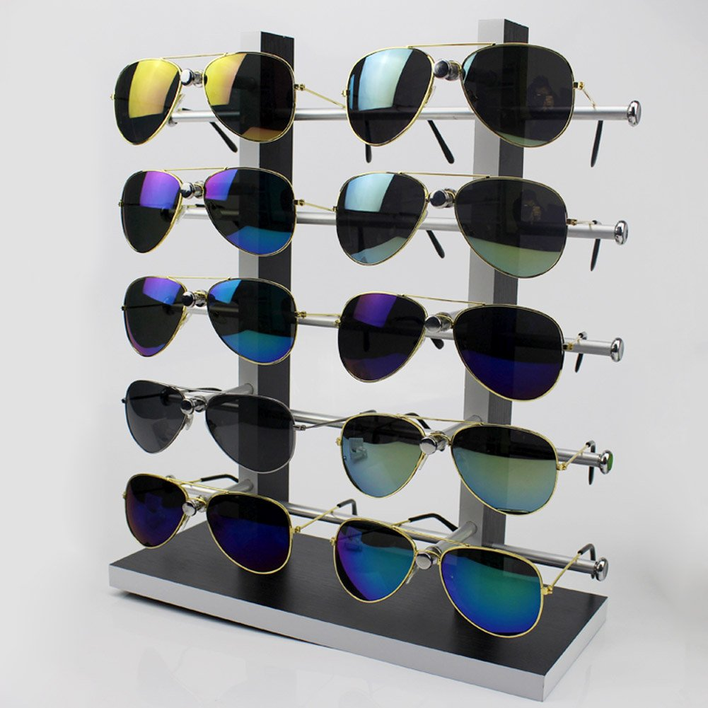Wood Sunglass Glass Rack Frame Glasses Display Stand Holder Organizer Black