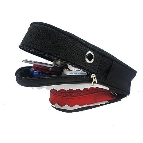 Diseño de tiburón 3d estuche con cerradura de combinación cosméticos maquillaje bolígrafo cepillo funda soporte,
