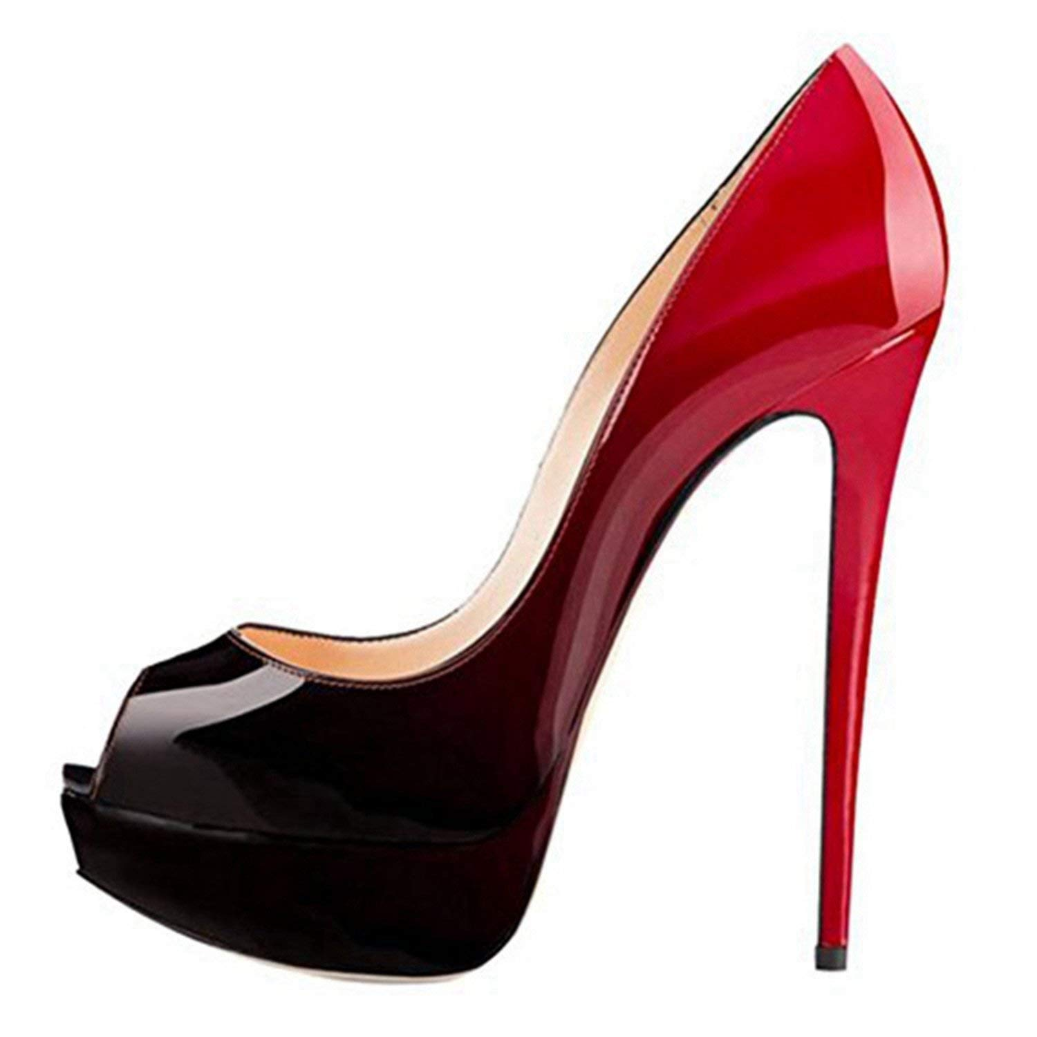 Black red Women Super high Heel Platform Pumps Peep Toe Party Nightclub shoes Thin Heels Black Red