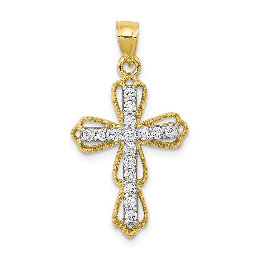 10k Yellow Gold Textured Polished Cubic Zirconia Filigree Cross Pendant