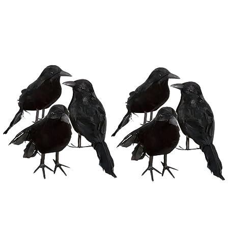 homyl 6 pieces set foam fake black crows birds ravens ornaments halloween decor
