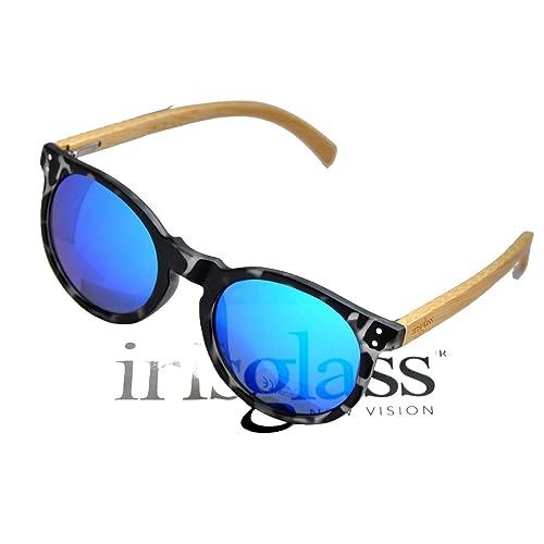 IRIS GLASS Gafas de sol Modelo Vintage años 60, Patillas de BAMBU, Cristales de espejo de alta calid...