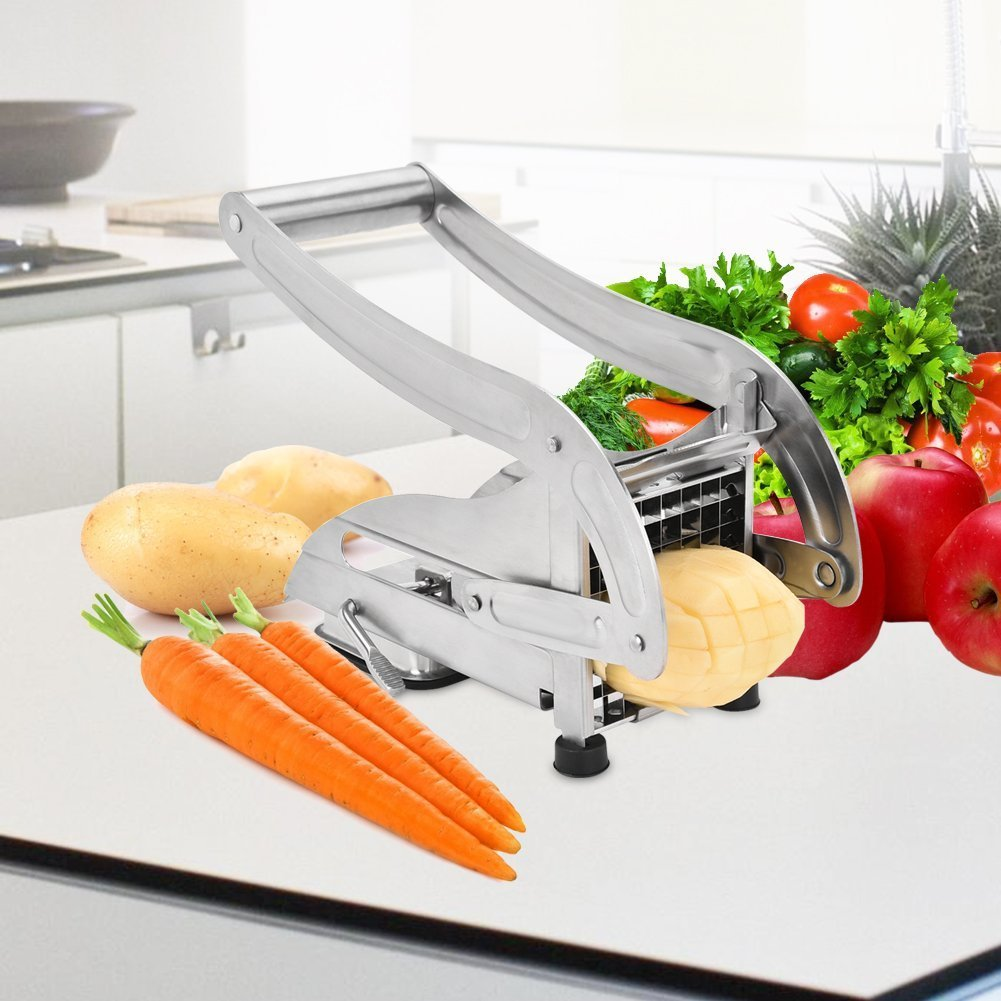 French Fry Cutter, Stainless Steel French Fries Potato Cutter with 2 Interchangeable Blades