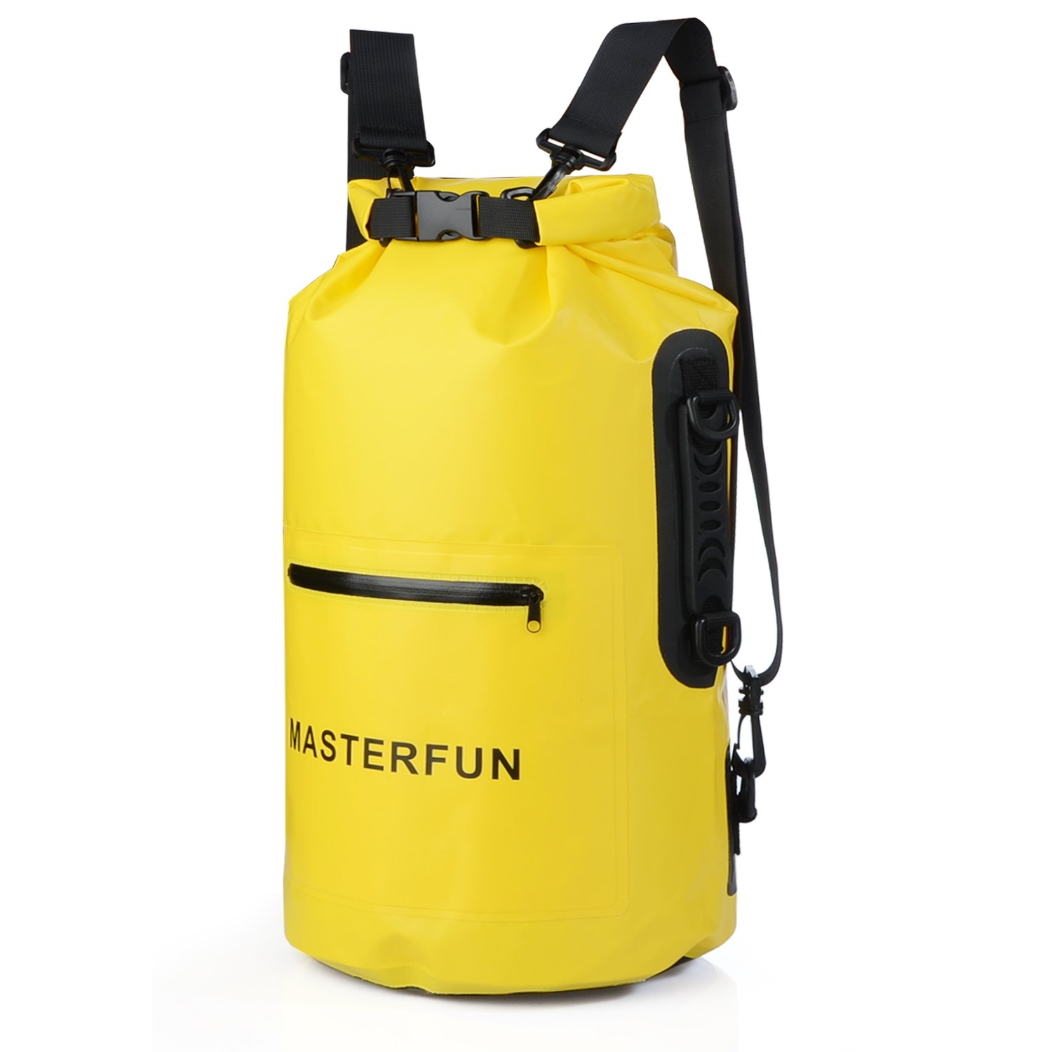 MASTERFUN Dry Bag Waterproof Backpack Gym Sack w/ Exterior Pocket Waterproof Zipper & Shoulder Strap & Handle for Boating Camping Kayaking Yellow 20L