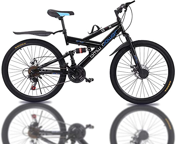 Full Suspension MTB AA 26in Adults Carbon Steel Mountain Bike 21 Speed Bicycle