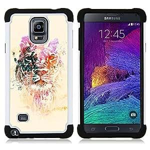 For Samsung Galaxy Note 4 SM-N910 N910 - lion yellow purple animal tiger Africa Dual Layer caso de Shell HUELGA Impacto pata de cabra con im????genes gr????ficas Steam - Funny Shop -