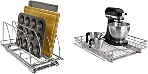 Lynk Professional Slide Out Cutting Board, Bakeware, and Tray Organizer Pull Out Kitchen Cabinet Rack, 10w x 21d x 9.6h -inch, Chrome & Pull Out Under Cabinet Organizer Sliding Shelf, 20