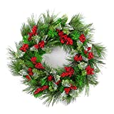 Naice PVC Pine Tips Christmas Wreath with Red Berries, Snowflakes, Holly Leaves 20-inch