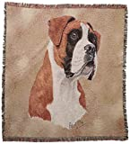 Pure Country 1125-LS Boxer Pet Blanket, Canine on Beige Background, 54 by 54-Inch