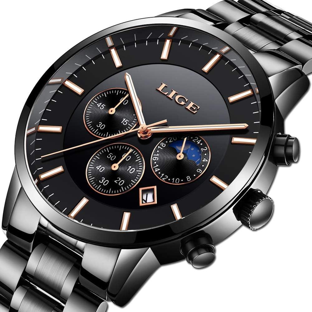 Relojes para Hombre Acero Inoxidable Impermeable Reloj Hombres Marca LIGE Cronógrafo Cuarzo Analógico Reloj Vestido Negocios Reloj Negro de Hombre