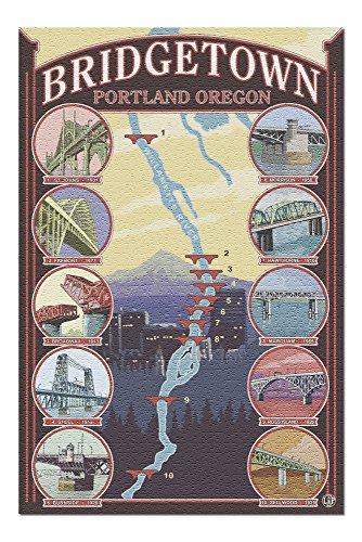 - Portland, Oregon - Bridges of Portland (20x30 Premium 1000 Piece Jigsaw Puzzle, Made in USA!)
