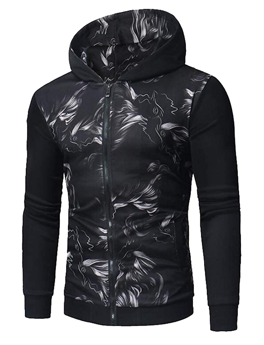 XiaoTianXin-men clothes XTX Mens Long Sleeve Loose Fit Casual Printed Patchwork Hooded Sweatshirt Jacket
