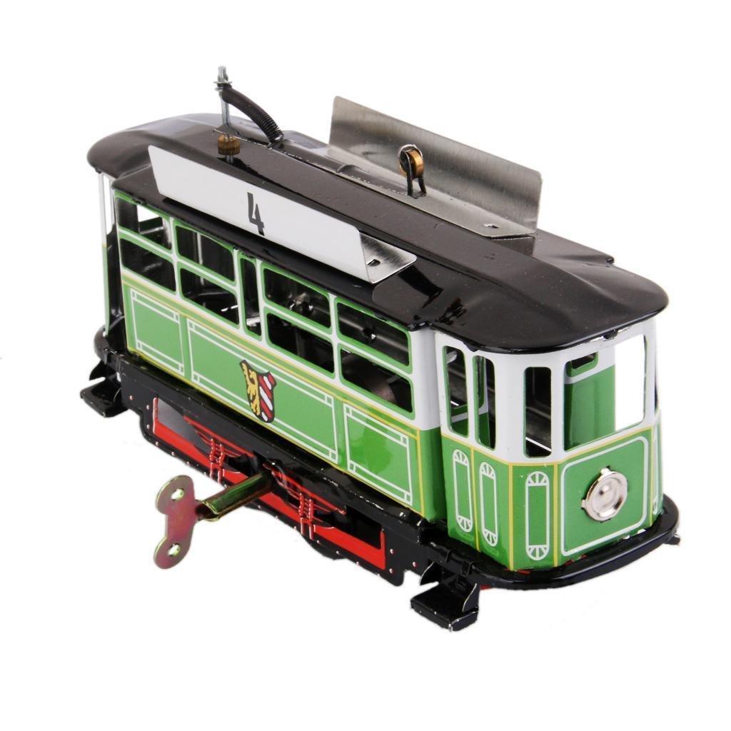 FidgetKute Vintage Trolley Bus Wind Up Clockwork Metal Tin Kids Adult Train Toy Gift