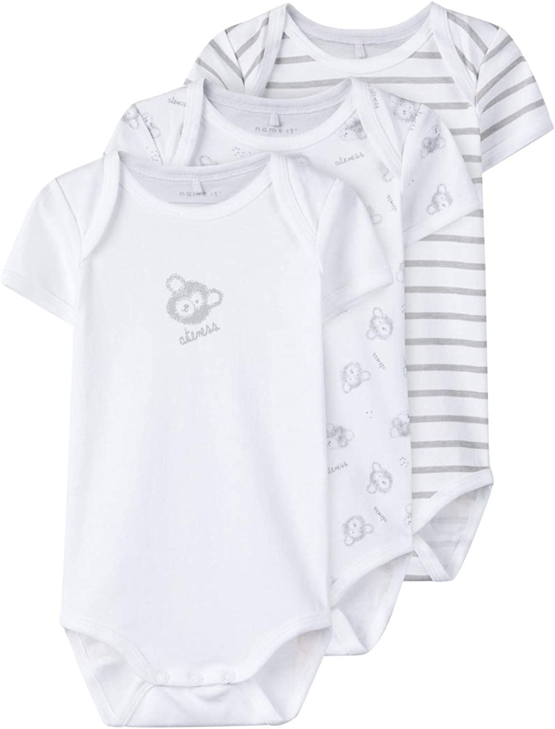 Name It NBNBODY Baby Bodysuit Short-Sleeved Cotton Pack of 3