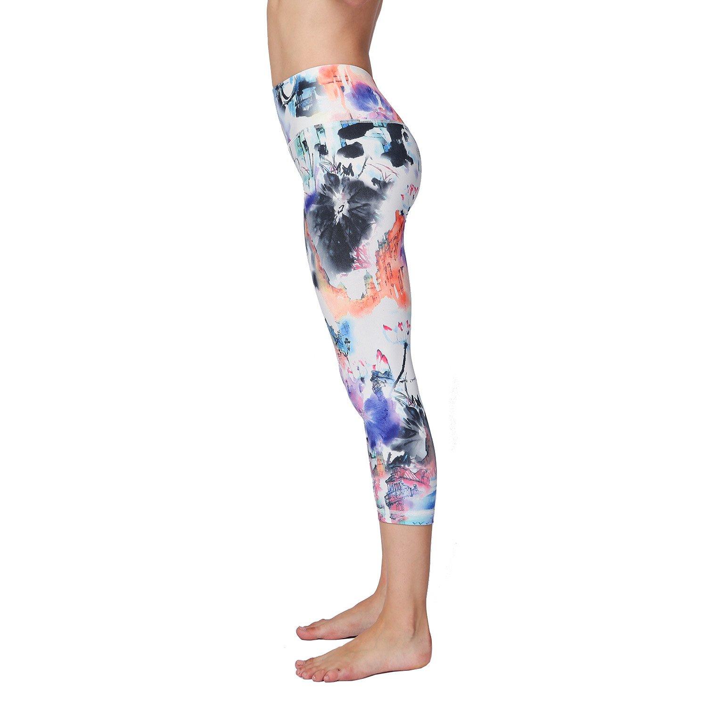 Witkey Women Printed 3//4 Yoga Pants High Waist Tummy Control For Workout Running Yoga Leggings