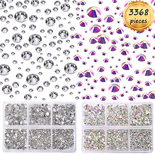 Find Cheap Whaline 3368pcs Crystal AB and Clear Rhinestones Round Flatback Glass, 6 Size for Nails D...