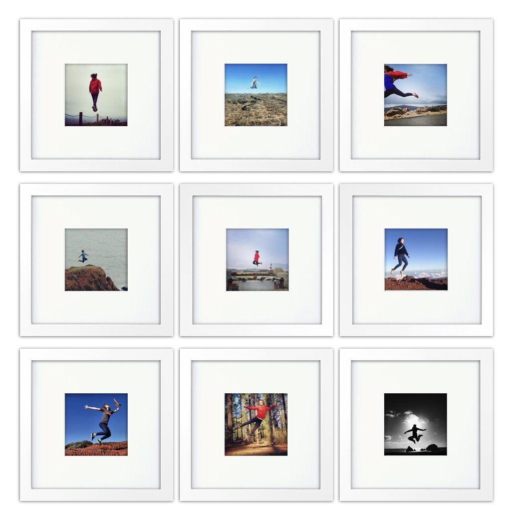 9-set, Tiny Mighty Frames - Wood, Square, Instagram, Photo Frame, 4x4 (Mat), 8x8 (9, White)