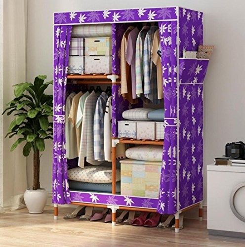 GL&G Wardrobe Closet Portable Oxford cloth Free Standing Storage Organizer – Home finishing decoration Portable, Detachable, and Solid wood Lightweight Clothing Closet ,C,39''63'' by GAOLIGUO