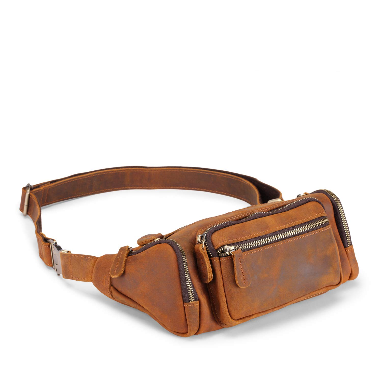 c45bf5345b6 Jack&Chris Genuine Leather Waist Bag Fanny Pack Bum Bag Purse bag for  Men&Women, 1804-60 (Brown)