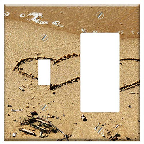 1-Toggle 1-Rocker/GFCI Combination Wall Plate Cover - Beach Hearts Sand Water Wave Stroll Vacation