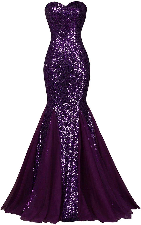 Sequin Sparkly Dark Salmon Purple Elegant Dresses Evening Gowns