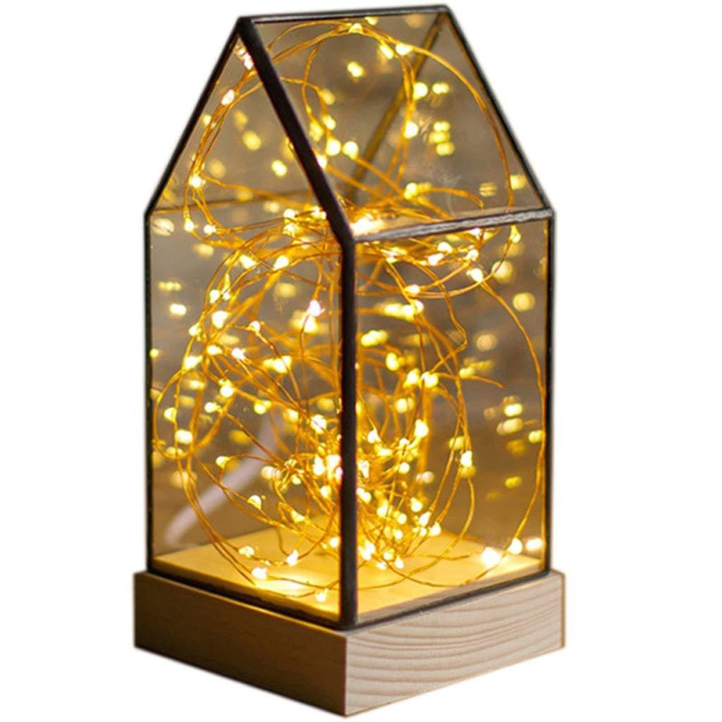 JUNBON LED Licht Feuer Baum Silber Blaume Massivholz Glas Lampenschirm Romantische Dekoration Geburtstagsgeschenk Tischlampe