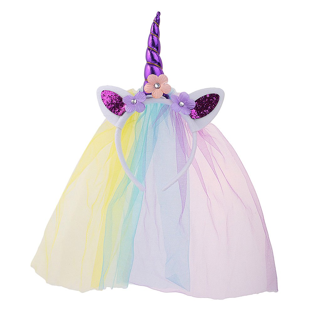 Amazon.com  Dovewill Flower Veil Unicorn Horn Headband Costume Girls  Hairband Funny Party Fancy Dress - Purple 29ac7360685