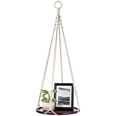 Mkono Macrame Hanging Shelf Indoor Plant Hanger Planter Rack Flower Pot Holder Boho Home Decor Cotton Rope (with Wood Plate)