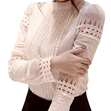 size 40 4e42f f326f BININBOX Damen Weiß Bluse Elegant Langarm Häkelspitze Hemdbluse Tuniken  Oberteil