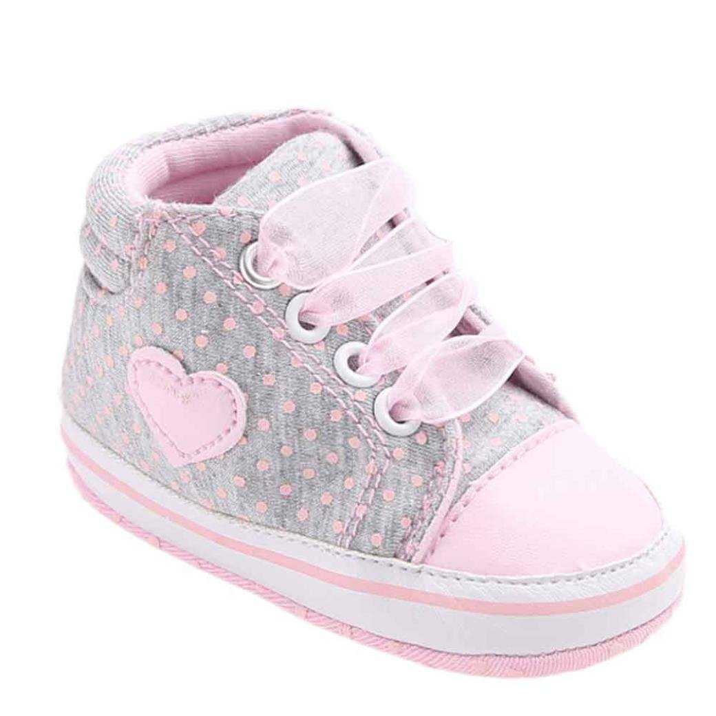 LNGRY Baby Girl Canvas Toddler Shoes Sneaker Anti-slip Soft Sole Causal Shoes (0-6 Months, Gray)