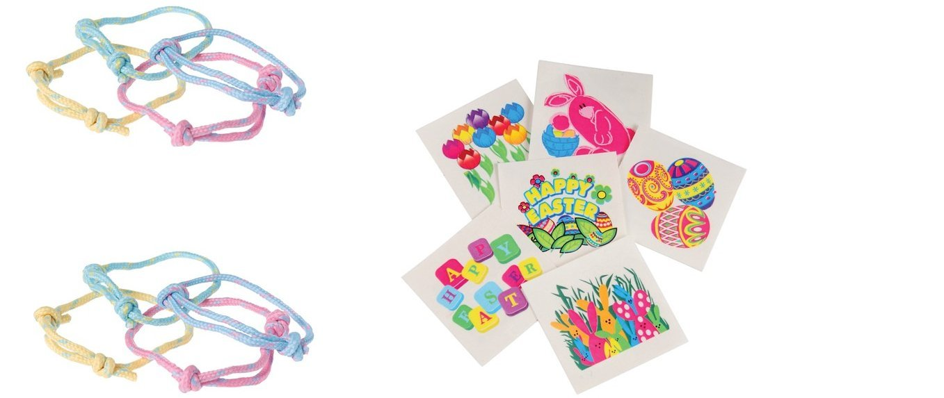 192 pc Easter Party Favor Pack ~ 48 Friendship Bracelets ~ 144 Temporary Tattoos ~ Bunny Basket Fillers ~ AN