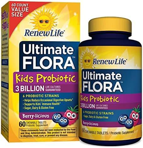 Renew Life Kids Probiotic - Ultimate Flora Kids Probiotic, Shelf Stable Probiotic Supplement - 3 Billion – Berry Flavor, 60 Chewable Tablets