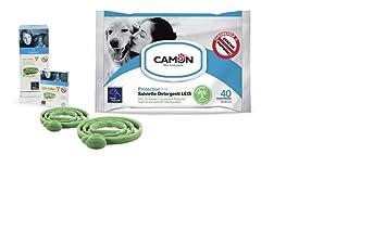 Camon Toallitas al aceite de neem y lavanda y collar Leis Protector perro
