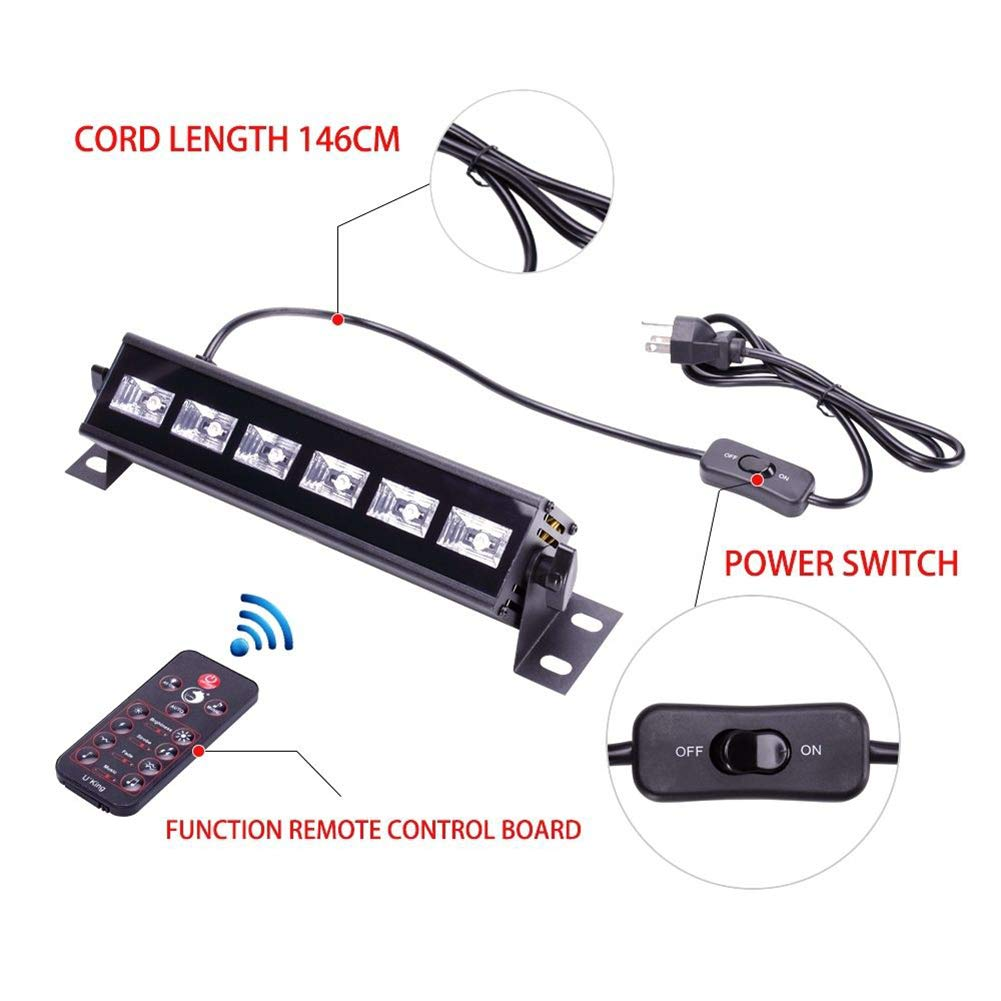 U`King Black Light Bar 6 LED x 3W for Glow Parties by RF Remote Control and DMX Controller by U`King (Image #5)