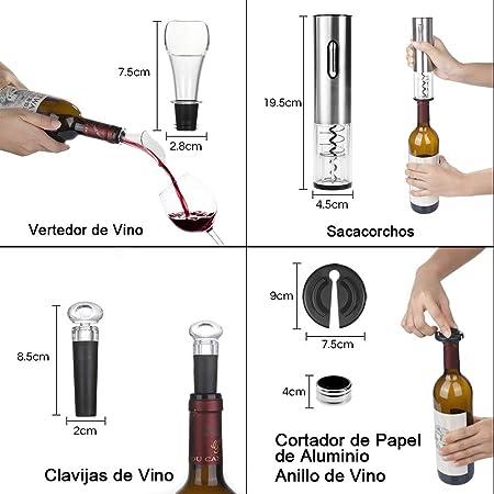Rovtop Abrebotellas eléctrico recargable del vino del acero inoxidable con el cable de datos de carga plata